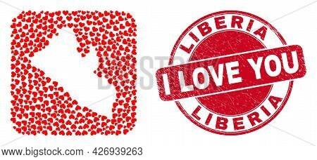 Vector Collage Liberia Map Of Valentine Heart Elements And Grunge Love Stamp. Collage Geographic Lib