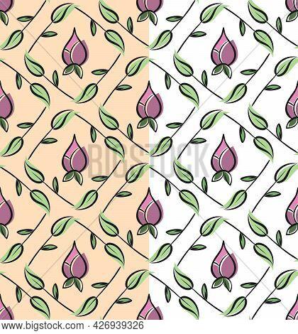 Folklore Floral Squared Seamless Pattern. Hand Drawn Decorative Ink Brush Line, Leaf, Flower Element