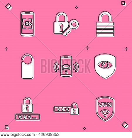 Set Mobile And Eye Scan, Lock Key, , Please Do Not Disturb, Smart Car Alarm System And Shield Icon.