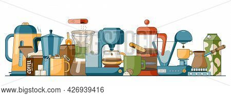 Cartoon Set Of Different Brewing Methods Of Coffee, Jugs, Mugs And Kettles, Electrical Coffee Machin