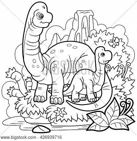 Cartoon Cute Dinosaurs Brachiosaurus, Coloring Page, Outline Illustration