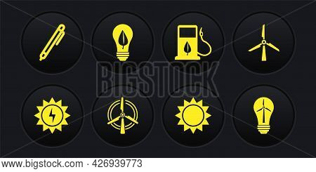 Set Solar Energy Panel, Wind Turbine, Rotating Wind, Sun, Bio Fuel With Fueling Nozzle, Light Bulb L