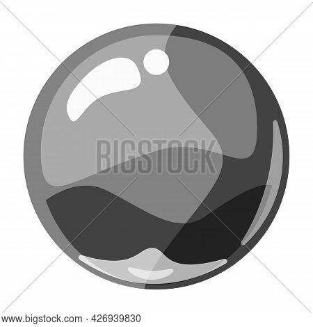 Ball Grey Shiny Glossy Colorful Game Art. Magic Crystal Glass Sphere, Bubble Shot Elements. Cartoon