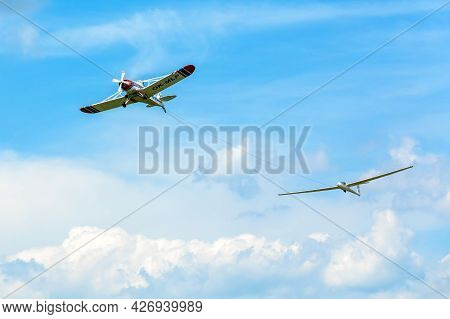 Brno, Czech Republic - July 4, 2021: Small Sports Airport Medlanky. Piper Pawnee Aircraft  Tow Plane