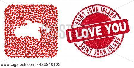 Vector Mosaic Saint John Island Map Of Valentine Heart Items And Grunge Love Seal Stamp. Mosaic Geog
