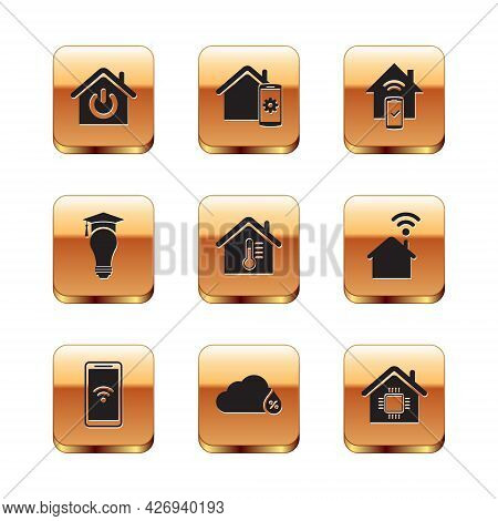 Set Smart Home, Mobile With Wi-fi Wireless, Humidity, House Temperature, Light Bulb And Graduation C