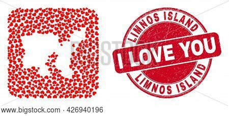 Vector Collage Limnos Island Map Of Lovely Heart Elements And Grunge Love Seal. Mosaic Geographic Li