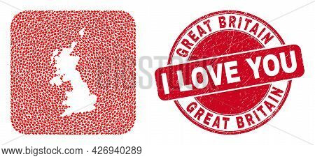 Vector Collage United Kingdom Map Of Love Heart Items And Grunge Love Seal Stamp. Collage Geographic