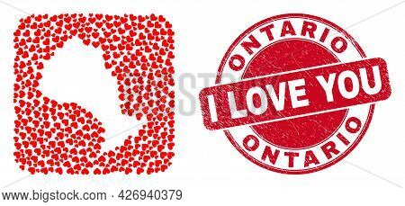 Vector Mosaic Ontario Province Map Of Lovely Heart Items And Grunge Love Seal. Mosaic Geographic Ont