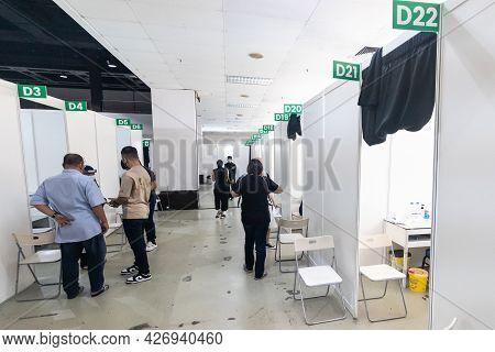 Kuala Lumpur, Malaysia, July 16, 2021: Partition Booths Inside The Covid-19 Vaccination Area At Wtc