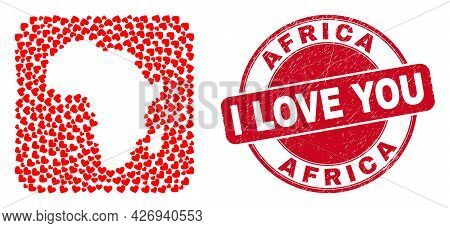 Vector Mosaic Africa Map Of Love Heart Items And Grunge Love Seal Stamp. Mosaic Geographic Africa Ma