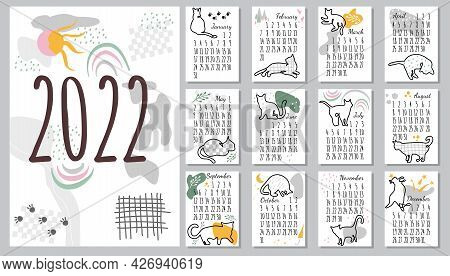 Calendar 2022 With One Line Cat.cute Hand Drawn Kittens In Doodle Style.template In Size A4 A3 A5.ve