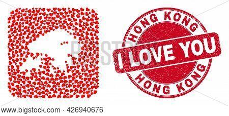 Vector Mosaic Hong Kong Map Of Lovely Heart Elements And Grunge Love Badge. Mosaic Geographic Hong K