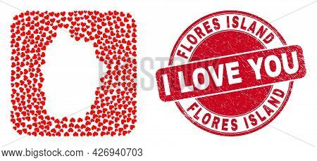 Vector Mosaic Flores Island Of Azores Map Of Lovely Heart Items And Grunge Love Badge.