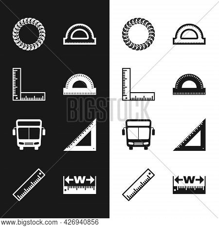 Set Protractor Grid, Folding Ruler, Laurel Wreath, Bus, Triangular, Measuring Height And Length And