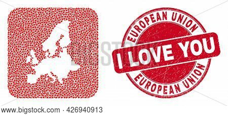 Vector Mosaic European Union Map Of Love Heart Elements And Grunge Love Badge. Mosaic Geographic Eur