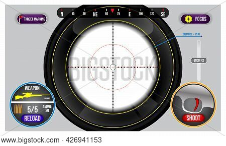 Realistic Viewfinder Sniper Shoot Military Isolated Or Aiming View On Fps Shooting Game Or Game Disp