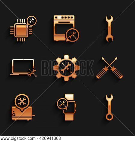 Set Wrench And Screwdriver In Gear, Smartwatch Service, Crossed Screwdrivers, Toaster, Laptop, And P