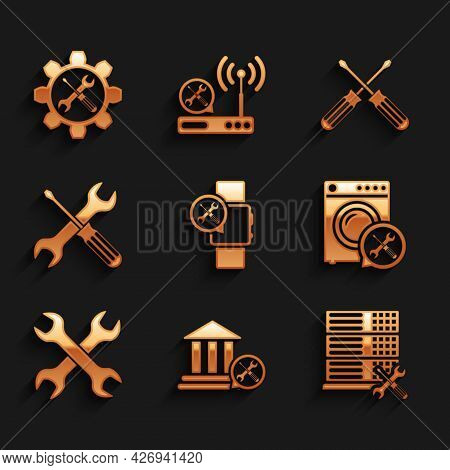 Set Smartwatch Service, Bank Building, Database Server, Washer, Crossed Wrenchs, Screwdriver And, Sc