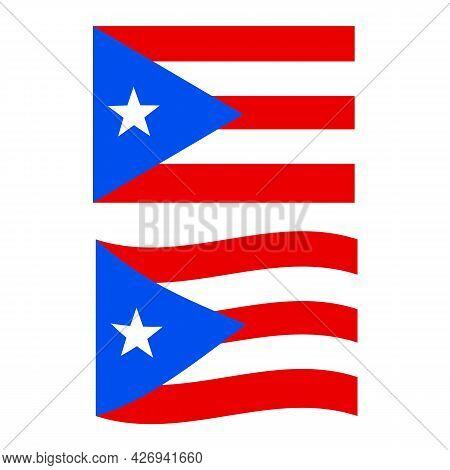 Puerto Rico Flag. National Flag Of Puerto Rico Sign. Waving Flag Of Puerto Rico Symbol. Flat Style.