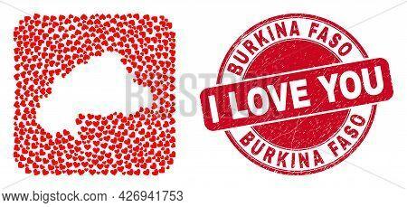 Vector Mosaic Burkina Faso Map Of Valentine Heart Items And Grunge Love Badge. Mosaic Geographic Bur