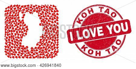 Vector Mosaic Koh Tao Map Of Valentine Heart Items And Grunge Love Seal Stamp. Mosaic Geographic Koh