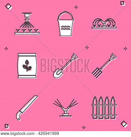 Set Automatic Irrigation Sprinklers, Bucket, Fertilizer Bag, Garden Shovel, Pitchfork, Saw And Icon.