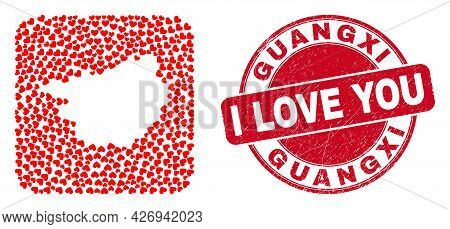 Vector Mosaic Guangxi Province Map Of Lovely Heart Elements And Grunge Love Seal Stamp. Mosaic Geogr