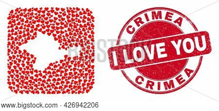 Vector Mosaic Crimea Map Of Love Heart Elements And Grunge Love Seal Stamp. Mosaic Geographic Crimea