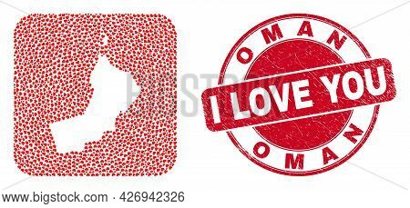 Vector Mosaic Oman Map Of Love Heart Elements And Grunge Love Seal. Mosaic Geographic Oman Map Desig
