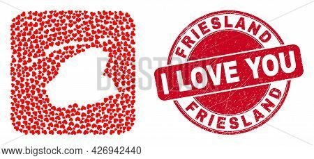 Vector Collage Friesland Province Map Of Love Heart Items And Grunge Love Seal Stamp. Mosaic Geograp