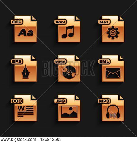 Set Wma File Document, Jpg, Mp3, Eml, Doc, Eps, Max And Otf Icon. Vector
