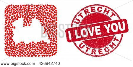 Vector Collage Utrecht Province Map Of Love Heart Items And Grunge Love Seal Stamp. Collage Geograph