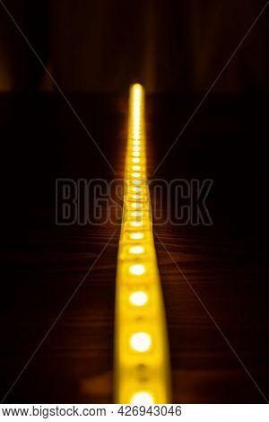 Shining Diode Tape,illuminate Led Strip Lighting Closeup.
