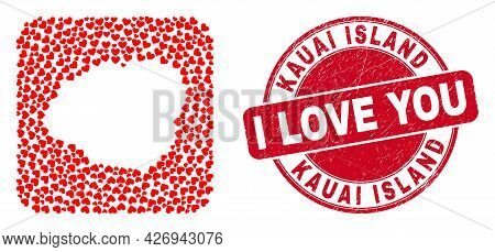 Vector Collage Kauai Island Map Of Love Heart Elements And Grunge Love Seal Stamp. Mosaic Geographic