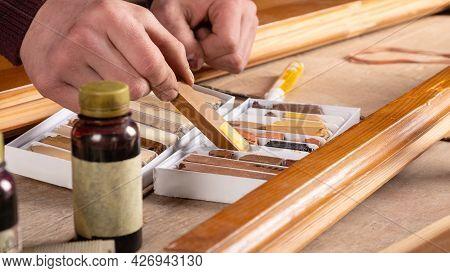 Restoration Of Wooden Doors, Windows With Wax Pencil.