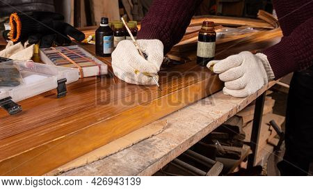 Restoration Of Wooden Doors, Painting And Sealing Of Chips.