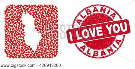 Vector Mosaic Albania Map Of Lovely Heart Items And Grunge Love Seal. Collage Geographic Albania Map