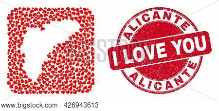 Vector Collage Alicante Province Map Of Lovely Heart Elements And Grunge Love Stamp. Collage Geograp
