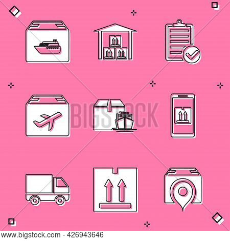 Set Cargo Ship With Boxes, Warehouse, Verification Of Delivery List, Plane And Cardboard, Mobile App