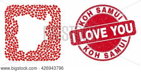 Vector Collage Koh Samui Map Of Love Heart Elements And Grunge Love Badge. Collage Geographic Koh Sa