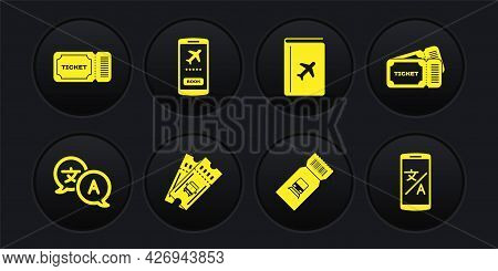 Set Translator, Ticket, Bus Ticket, Train, Cover Book Travel Guide, Mobile With, Online Translator A