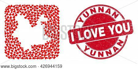Vector Collage Yunnan Province Map Of Lovely Heart Elements And Grunge Love Seal Stamp. Collage Geog