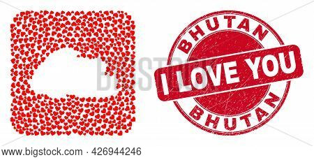 Vector Mosaic Bhutan Map Of Valentine Heart Items And Grunge Love Badge. Collage Geographic Bhutan M