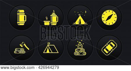 Set Wooden Axe And Wood, Compass, Tourist Tent With Flag, Campfire, Thermos Container, Rafting Boat