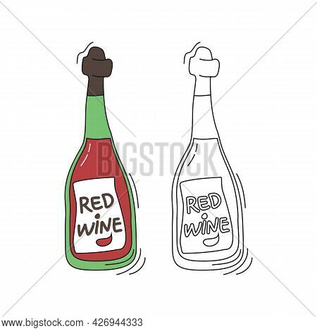 Red Wine On White Background. Two Kinds Beverage. Cartoon Sketch Graphic Design. Doodle Style With B