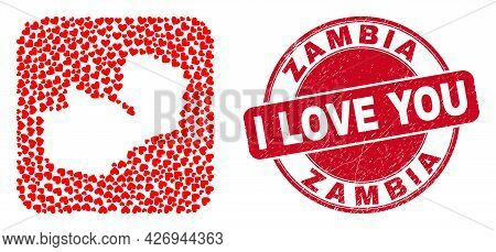 Vector Collage Zambia Map Of Love Heart Elements And Grunge Love Seal. Collage Geographic Zambia Map