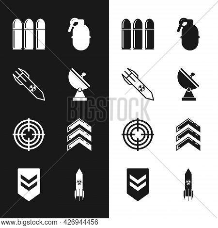 Set Radar, Nuclear Rocket, Bullet, Hand Grenade, Target Sport, Military Rank, Biohazard And Chevron