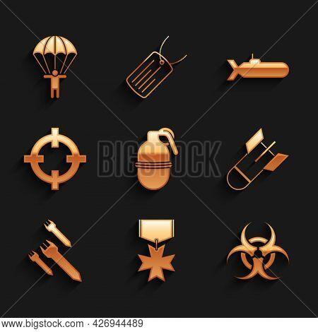 Set Hand Grenade, Military Reward Medal, Biohazard Symbol, Aviation Bomb, Rocket, Target Sport, Subm