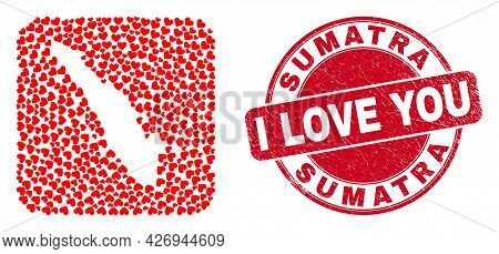 Vector Collage Sumatra Map Of Love Heart Items And Grunge Love Seal Stamp. Collage Geographic Sumatr